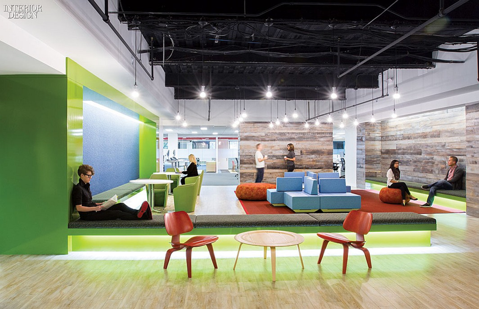 cool office space. green and blue officed cool office space